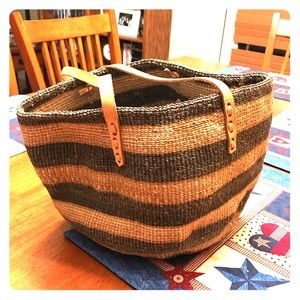 Handbags - Vintage Woven/ Weaved Bucket Bag Leather Straps